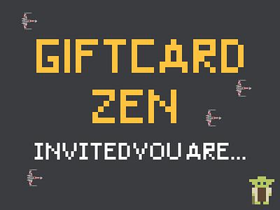 Giftcard Zen Party Invites x-wing yoda pixels star wars