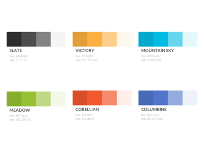 Colours complimentary primary tint shades branding palette colors styleguide