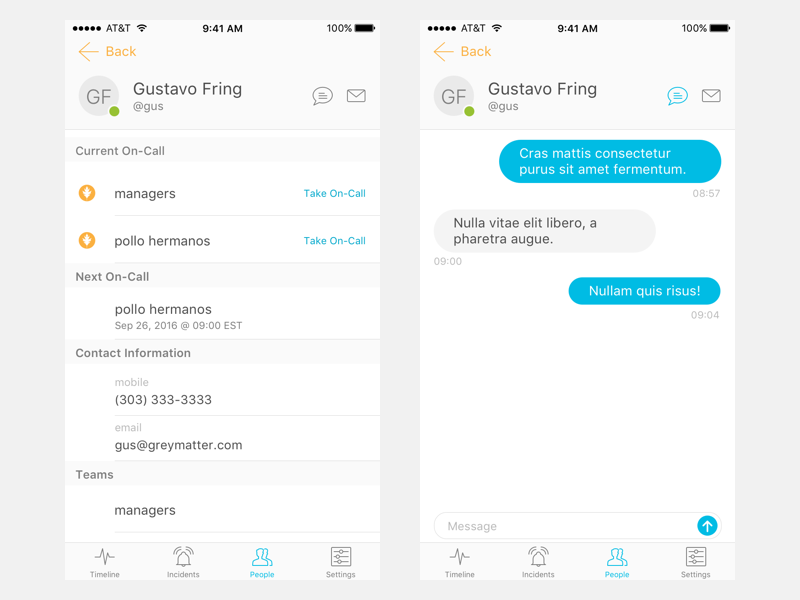 User Profile (WIP) chatops devops light messages messaging chat user profile contact on-call ios mobile