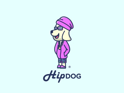Hip Dog Logo Design friends paw head colorful young urban hip fashion stylish dog mascot character logo animal illustration icon design cute cartoon