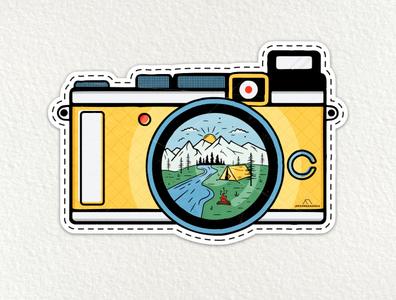 Camping Adventure Patch Sticker Design