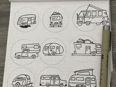 RV Camping Trailers Sketches design vintage travel icon adventure work process work in progress inking sketches creative market trailers rv lineart simple design