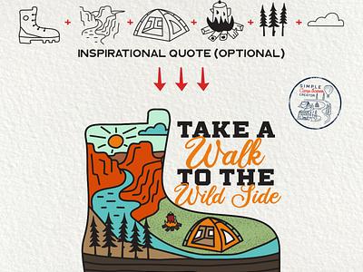 Take a Walk To The Wild Side Badge mountain vector retro camping logo emblem adventure boots creative logo creative market camping vintage badge
