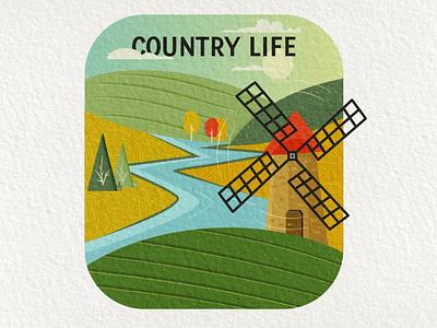 Country Life | Retro Badge Design with Textures creative village farm landscape retro windmill illustration design adventure logo emblem vector camping vintage badge