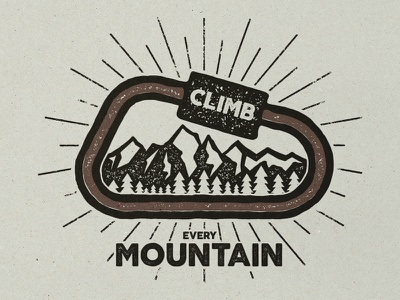 Climb Every Mountain badge camping climbing mountain wilderness backpack label monochrome outdoors retro logo adventure