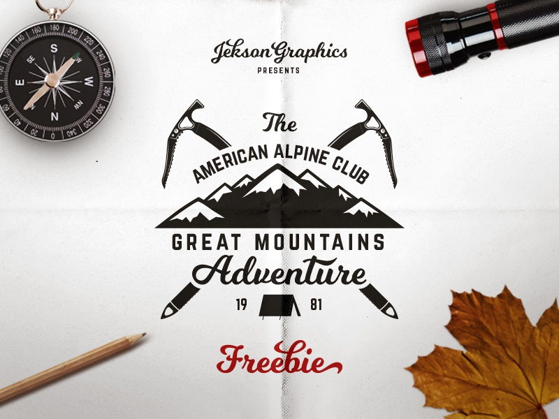 Freebie Mountain Adventure Badge retro design mountain travel badge great outdoors template free psd vintage freebie label adventure free