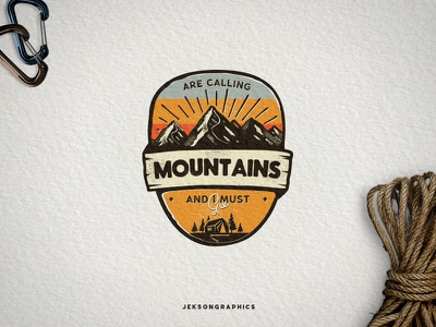 Mountains Calling Badge mountain patch apparel vintage icon shirt vector illustration logo tent camping badge