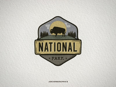 National Park Vintage Badge badge camping wild animal logo illustration vector national park travel vintage hiking patch mountain