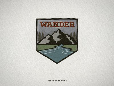 Wanderlust Vintage Patch mountain patch hiking vintage travel national park vector illustration logo wanderlust camping badge