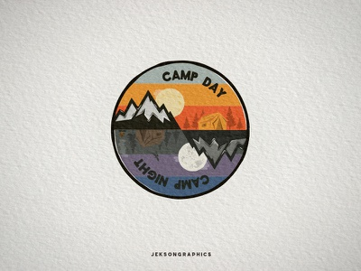 Vintage Camping Patch / Badge badge camping wanderlust logo illustration vector logomark travel vintage hiking patch mountain