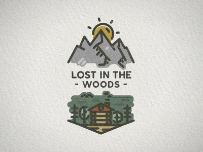 Lost In The Woods Badge camping illustration logo patch retro design vintage design linear icon adventure line art hiking badge