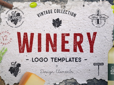 Winery Logo Templates wine label logo vineyard workplace design vintage badge grape winery hand crafted