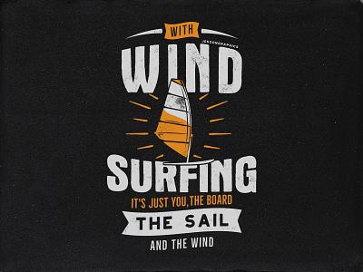 Wind Surfing Tee Design poster typography wind surfing emblem retro design extreme sports apparel print design t shirt tee graphics surfing
