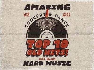 Vintage Music Poster / T-Shirt Design t shirt design apparel tee rock emblem music poster typography rock n roll inspiration vector