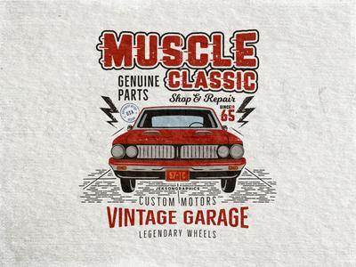 Muscle Classic - Retro Car Tee Design classic badge emblem gto pontiac muscle car design t shirt tee car retro