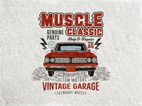 Muscle Classic - Retro Car Tee Design