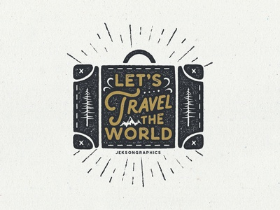 Let's Travel The World Artwork typography hiking bag vintage retro silhouette travel the world camping shape badge patch travel