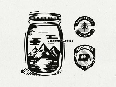Mountain & Camp Life Badges icon hiking label adventure illustration vector tattoo art vintage badge logo camping wanderlust mountain patch retro design travel badge