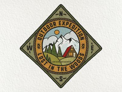 Retro Camping Badge   1/12 design wanderlust vintage insignia hiking emblem logo retro design mountain patch travel retro adventure vector camping badge