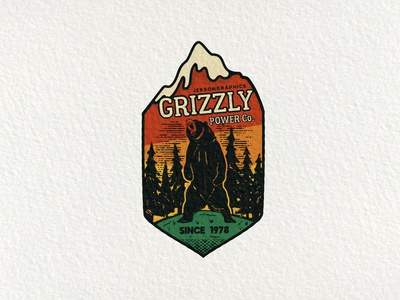 Grizzly Power   Retro Camping Badge   3/12 retro wanderlust hiking retro design mountain vintage logo grizzly bear travel patch emblem adventure vector badge camping
