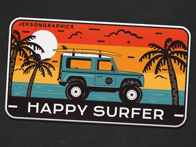 "🏄♂️ 4/12   Happy Surfer Patch   ""Retro Camp Badges"" series 🌄 illustration wanderlust retro design camping logo vector surf board surf car patch travel retro adventure vintage badge surf"