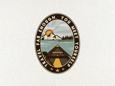 Travel Far Enough Patch   Retro Camping Badge   5/12 vector quote insignia wanderlust logo badge design emblem mountain illustration patch travel retro adventure vintage canoe camping