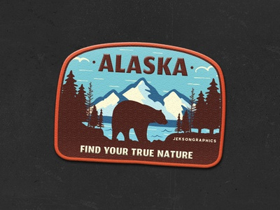 Alaska Patch | Retro Camping Badge | 6/12 retro design hiking label insignia wanderlust design badge emblem bear illustration mountain patch travel adventure vector typography logo vintage camping