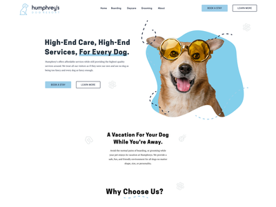 Humphrey's Website Concept webflow web website blue dog daycare grooming boarding resort pet ux homepage branding brand ui design