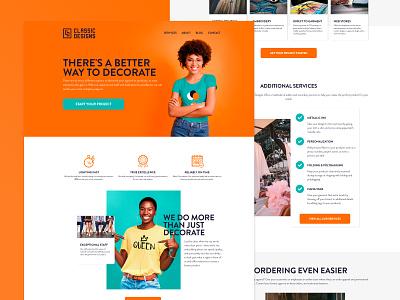 Classic Designs Unlimited Website css html photoshop xd webflow web tshirt printing embroidery screenprinting ux website homepage branding brand ui design