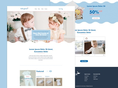 Baby Clothes Website light blue babtism clothes kids baby web graphic design website homepage ui design