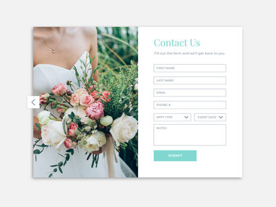 Wedding Website Contact Form dress alterations appointment email contact us bride wedding contact form contact ux website homepage ui design