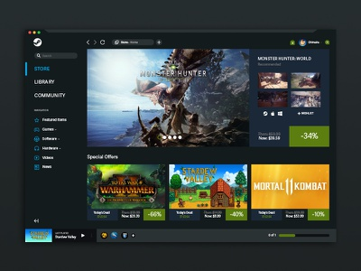 Steam Game Platform browser app game steam ux ui design