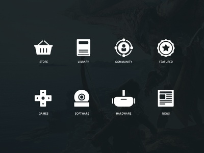 Steam Concept Icons app design gaming news hardware software games featured community library store steam iconset icons ui design
