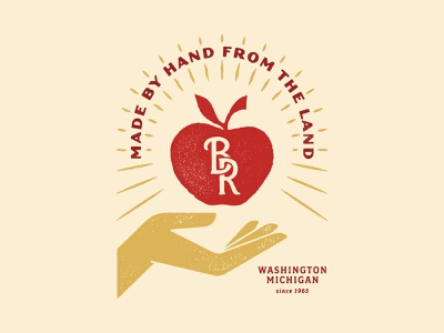 Made by hand from the land graphic design tshirt michigan farm cider orchard apples hand logo branding hand lettering type design illustration typography