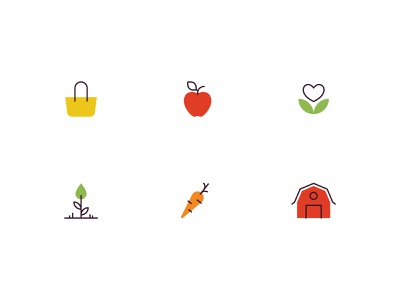 Farming Icons fruit vegetable icon set healthy organic fresh produce icon design iconography farming farm icon design vector illustration