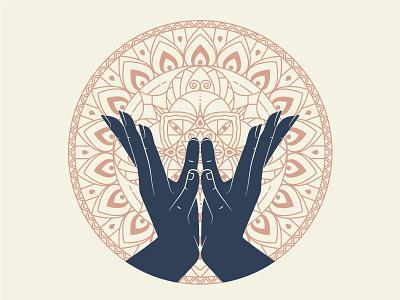 Lotus Mudra apparel design tshirt geometry lines yoga hands mudra illustration mandala