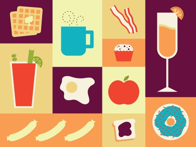 Brunchtime bacon apple donut bloody mary mimosa coffee vector flat illustration icons breakfast brunch