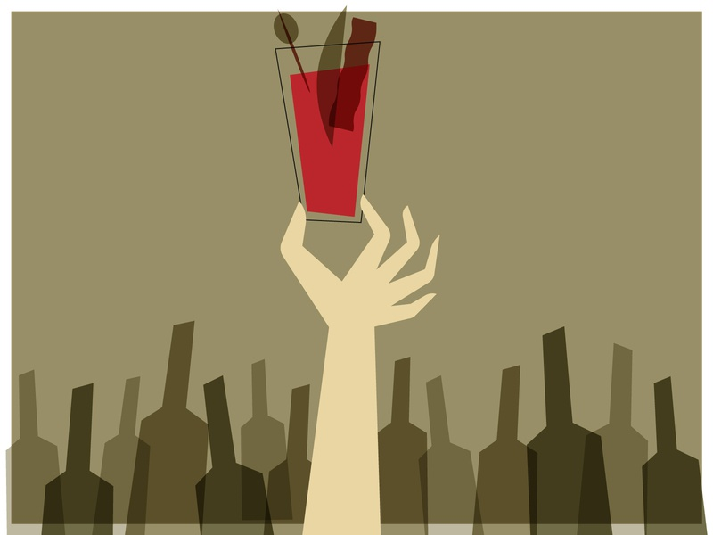 Bloody Mary graphic design alcohol hand mid century modern mid century bloody mary brunch vector design illustration