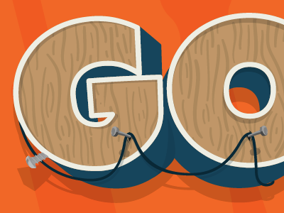 Go Typography 3d typography text illustrator lettering wood texture