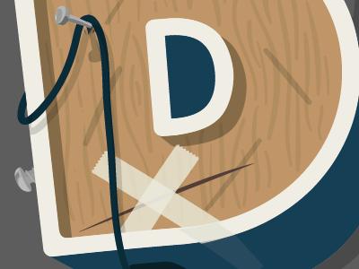 'D' wood type typography wood texture illustration fun playful