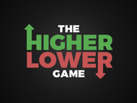 The Higher Lower Game Logo game lower higher typeform identity red green type typography logo
