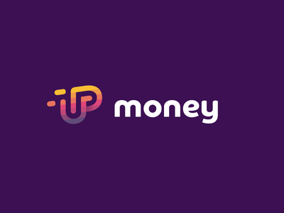Up Money design colorful logomark brand icon logo card bank credit gradient up letter letter logo lift fly invest grow up coin loan money