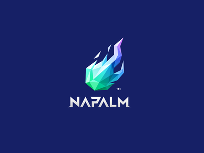 NAPALM typography 7gone symbol icon brand mark logo bonfire play game burn modeling triangle 3d low poly meteor fire flame napalm