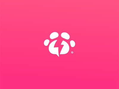 PowerPaw sign symbol store brand design icon logo foot print dog cat animal pet power lightning bolt bolt paw