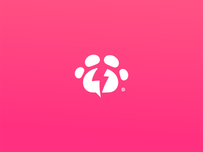 PowerPaw sign symbol store brand design icon logo foot print dog cat animal pet power lightning bolt bolt paw