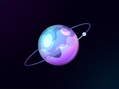 FluidPlanet ui ux 7gone art graphic icon style game galaxy earth vector moon saturn aura waves water bubble fluid cosmos planet