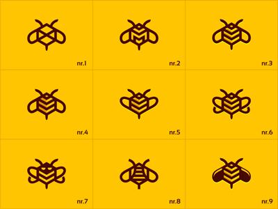 BeeMarketing (logo variations) bee marketing buzz fly comb honey market hive design logo mark icon