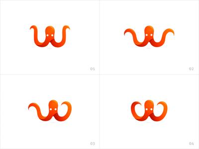 Wakatime (logo variations) wakatime time hour octopus fish sea tracking program logo icon illustration design