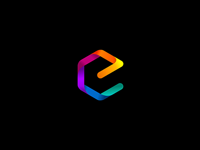 Letter E in Box symbol icon logo 7gone pacman curve vector square rainbow gradient box letter e