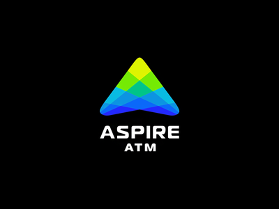 ASPIRE ATM 7gone bank icon logo arrow up income business money pyramid mosaic letter a aspire atm